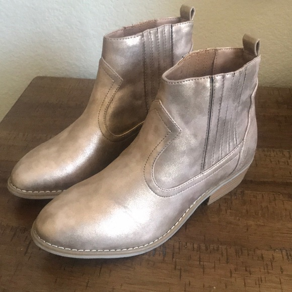 Universal Thread Shoes - Universal Thread distressed gold booties